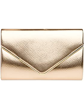 CASPAR TA372 Damen elegante Envelope Clutch Tasche / Abendtasche mit langer Kette