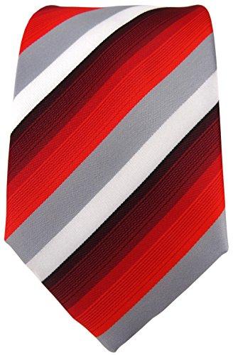 TigerTie - Cravate - À Rayures - Homme rouge vinrouge gris blanc
