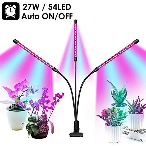 Pflanzenlicht, 54 LED 27W Licht wachsen lassen Das ganze Spektrum, 9 dimmbare Stufen, USB Pflanzenlampe, 3-Kopf Einstellbar Schwanenhals, 3/9/12H Automatisch An / Ausschalten zum Innen Pflanzen Blume