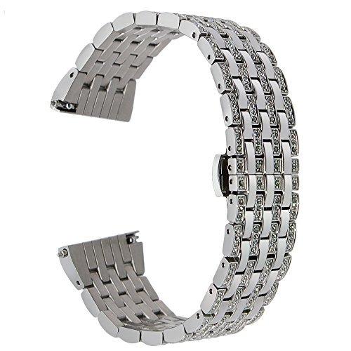TRUMiRR Galaxy Watch Active/Galaxy Watch 42mm/Garmin Vivoactive 3 Armband, 20mm Kristall Rhinestone Diamant Uhrenarmband für Withings Steel HR Sport, Huawei Watch 2, Withings Steel HR Sport