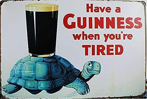 Style Vintage Aim for a Guinness Affiche murale rétro en métal avec inscription 30 x 20 cm
