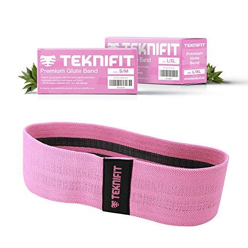 Teknifit Booty Builder - Teknifit Premium Trainingsband Resistenzband für Po und Hüften – Elastisches Rutschfestes Widerstandsband Rosa / Pink (S/M) (Vor Bootie)