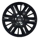 CM DESIGN 16 Zoll MAXUMUS Black mit 24x Chrome Aufkleber, passend für fast alle Opel z.B. für Astra H TwinTop