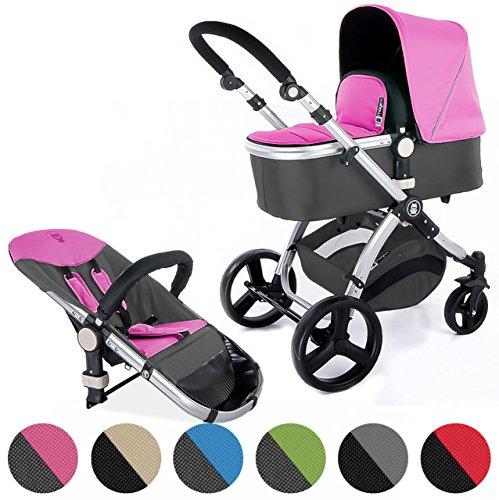 Froggy Kinderwagen MAGICA Kombikinderwagen Sportwagen Buggy Kinderwagenset 2 in1 mit Babywanne und Sportsitz Pink