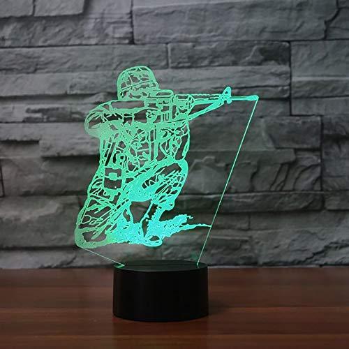Kjfgkf @ 3D Nachtlicht 3D Led 7 Farben Usb Nachtlicht Langlauf Krieger Touch Switch Soldat Form Schreibtischlampe Beleuchtung Room Decor Kinder Kreatives Geschenk