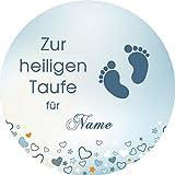 Tortenaufleger Taufe2 blau Wunschtext / 20 cm Ø