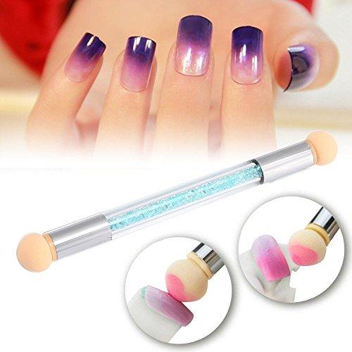 Pinceau Pawaca en éponge à doubles extrémités pour dégradés de couleur, faire briller et décorer des ongles,Dégradé Blooming Gel UV Ongles-4 têtes de rechange incluses.