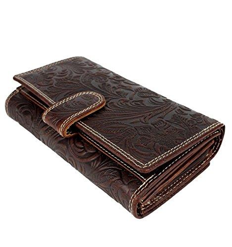 Damen XL Geldbörse aus Leder mit geprägtem Lianen Muster Blumen Paisley - Elegante Damenbörse Lederbörse Brieftasche, Farbe:Braun (Hipster Klassische Brieftasche)