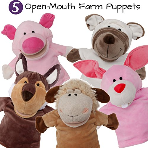 BETTERLINE 5-Set Animal Hand Puppets / Zoo, Safari, Farm, Wildlife / with Movable Open Mouth / Plush Pretend Toys (Bauernhof 2)