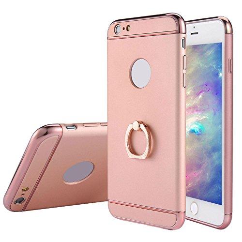 KOBWA iPhone 6s/6 Hülle, 3 in 1 Ultra Dünner Harter 360 Grad Ring Anti-Kratzer Stoßfestes Elektrodengestell mit Beschichteter Oberfläche Ausgezeichneter Griff-Fall für Apple iPhone 6s/6