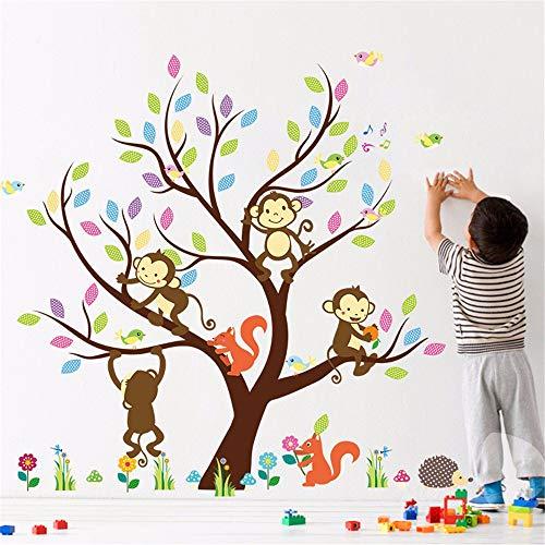 Kindergarten-Kindergarten-Eulen-Affen-Baum-Eichhörnchen-heißer Wandaufkleber-Großhandel kann entfernt werden -