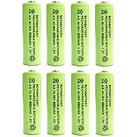 BuyaBattery AA 1.2v 600mAh NiMH Rechargeable Solar Light Batteries for Outdoor Garden Solar Lights (8 Pack)