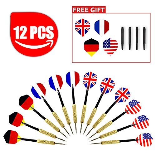 Aodoor (12 Stücke) Dartpfeile, Dartpfeile mit Nationalflagge (4 Arten) Dart Flights Dartpfeil-Spitzen Dart Soft-Dartpfeile, Elektronische Dartscheiben + Zubehör -