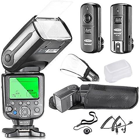 Neewer® NW565N Kit de Flash Esclavo i-TTL Professional para Nikon D7100 D7000 D5300 D5200 D5100 D5000 D3200 D3100 D3300 D90 D800 D700 D300 D300S D610, D600 D4 D3S D3X D3 D200 y todas otras cámaras DSLR de Nikon - Incluye: Neewer Flash de Enfoque Automático + Disparador Inalámbrico 2.4GHz + Cables N1-Cord & N3-Cord + Difusores de Flash Duro y Suave + Soporte para Tapa de