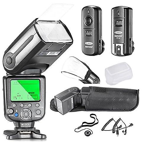Neewer NW565EX I-TTL Flash Esclave Professionnel Speedlite Kit pour Nikon DSLR Caméras- Comprend: Neewer Auto-Focus Flash + 2.4G Déclencheur sans fil + C1/C3 Câbles + Diffuseur + Capuchon d'Objectif
