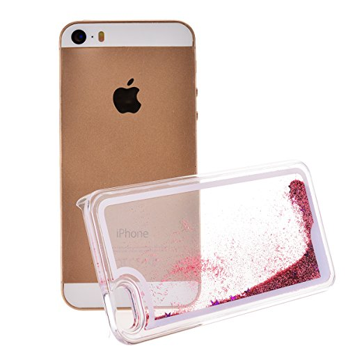 Copertura Dura per Apple iPhone SE / 5 / 5S, HB-Int Hard Case Cover per Apple iPhone SE / 5 / 5S in 3D, Scorre Fluttuante Liquido Lusso di Bling di Scintillio Sparkle Shell Custodia Creative Design Ca Champagne