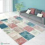Teppich Designer Modern Wohnzimmer Schlafzimmer Flur Pastell Farben Inspiration Stamp Patchwork, Größe in cm:200 x 290 cm