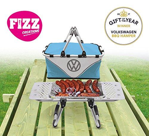 51sG6UPYs3L - Volkswagen Grillständer + Picknickkorb, 2-in-1, Kühltasche, inkl. Einweg-Grill