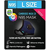 Dettol Cambridge N95 Mask for Protection from Virus, Bacteria, Pollution – Reusable, Washable, with Breathing Valve (Blue, Large)