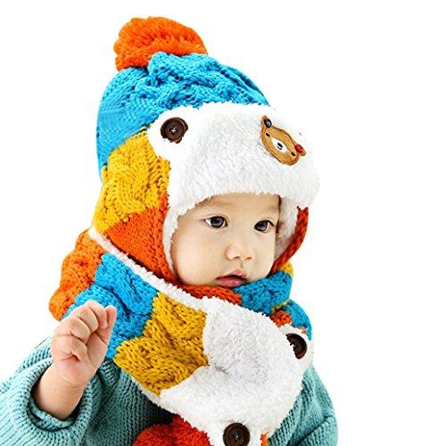 Sunnywill Baby Cartoon Hüte hustet Schal Winter Herbst (Blue) (Blue-baby-häubchen)