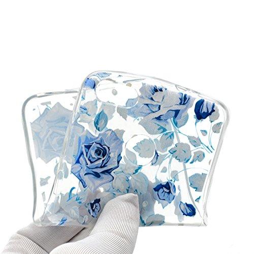 Coque Huawei Y6 Pro 2017/Enjoy 7, Surakey Etui [Transparente avec Motif] Souple Silicone Coque Pour Huawei Y6 Pro 2017/Enjoy 7, Imprimé Coloré Mandala Fleur Rose Coque de Protection en TPU avec Absorption de Choc Bumper et Anti-Scratch Housse Etui de Protection Cas en Caoutchouc Ultra Mince Premium Semi Hybrid Crystal Clear Flex Soft Skin Extra Slim Téléphone Couverture TPU Case Cover Coque pour Huawei Y6 Pro 2017/Enjoy 7 (Fleur Bleue)