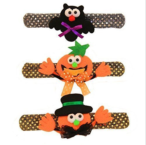 URChic 6Pcs 21X3cm Halloween-glühende Kinder Wristband mit LED-hellem Kürbis-Plüsch-Dekoration-Armband Patted (Kinder Party Themen Kostüm)