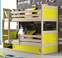 RICO BUNK BED 160x80cm toodler bed pine colour with 2 foam mattresses + storage- Free P&P