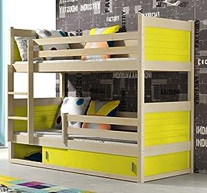 RICO BUNK BED 160x80cm toodler bed pine colour with 2 foam mattresses + storage- Free P&P