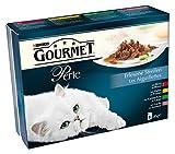 Gourmet Perle Katzenfutter Rind, Kaninchen, Lachs, Huhn, 2er Pack (2 x 8 x 85 g) Beutel