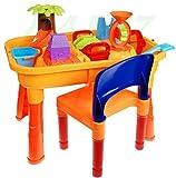BSD Kinder Spieltisch Sand and Water 8803A mit Stuhl - Sandkasten Tisch - Sandspielset - Wasser- und Sand- Spieltisch mit Zubehör - Sand und Wasser Spieltisch - Sandkastenspielzeug