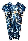 Guru-Shop Langes Kurzarm Batikkleid, Maxikleid, Strandkleid, Sommerkleid in Übergröße, Damen, Blau/beige, Synthetisch, Size:One Size, Lange & Midi Kleider Alternative Bekleidung