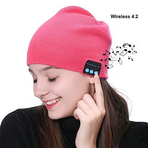PJYU Auriculares del Sombrero de la Gorrita Tejida de Wireless Sombrero Lavable del Invierno Casquillo de Punto Altavoz inalámbrico Mic Incorporado Hombres Mujeres Chica Adolescent (Rosa)