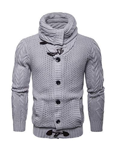 BESBOMIG Cardigan da Uomo Maglione da Uomo Pullover Uomo Sweatshirt Sweater Manica Lunga Maglieria Moda Uomo Slim Maglione