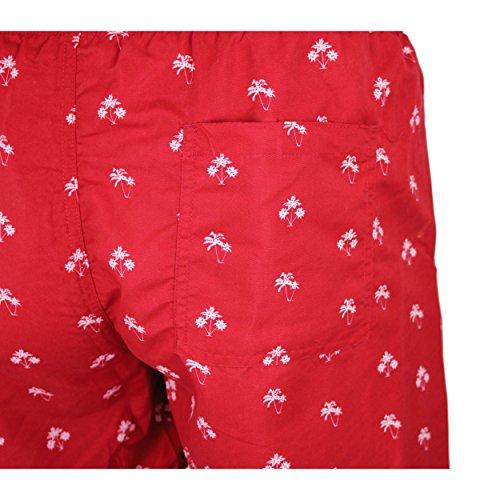 Badeshorts Herren Badehose Männer Strandshorts Bermuda Swimshorts Muster 5 - Rot