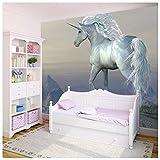 azutura Schönes weißes Einhorn Fototapete Märchen Tapete Mädchen Schlafzimmer Dekor Erhältlich in 8 Größen Klein Digital