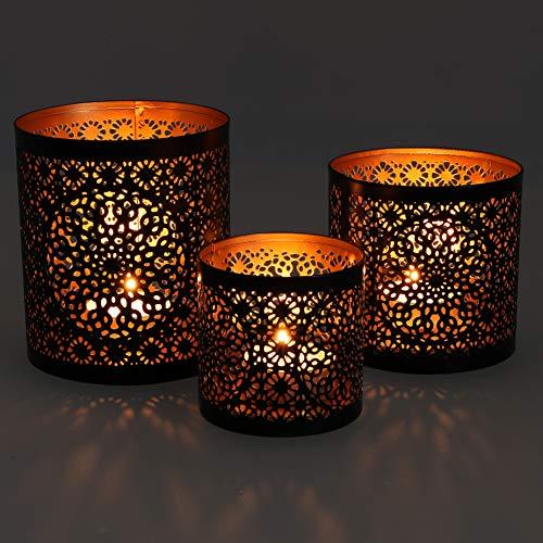 Guru-Shop Filigranes Orientalisches Metall Windlicht,Teelicht Leuchte mit Fein Gefrästem Design - Motiv 2, Braun, Größe: 3èr Set, Teelichthalter & Kerzenhalter