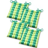 Gräfenstayn Set de 4 Cojines, Cojines para Silla de 40 x 40 x 5 cm para Interior y Exterior de 100% algodón Acolchado Grueso/cojín para el Suelo (Verde/Verde Claro)