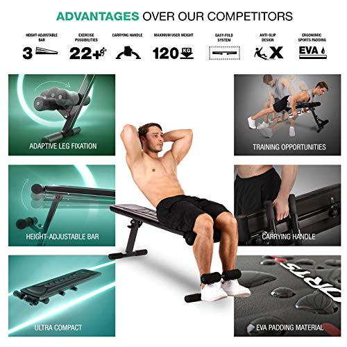 Sportstech-Innovative-18in1-Weight-Bench-with-Carrying-Handle-BRT100-Flat-Bench-Unique-Design-Eva-Padding-Material-Folding-Fitness-Bench-Intelligent-Folding-System-Abs-Trainer-Anti-slip-Feet