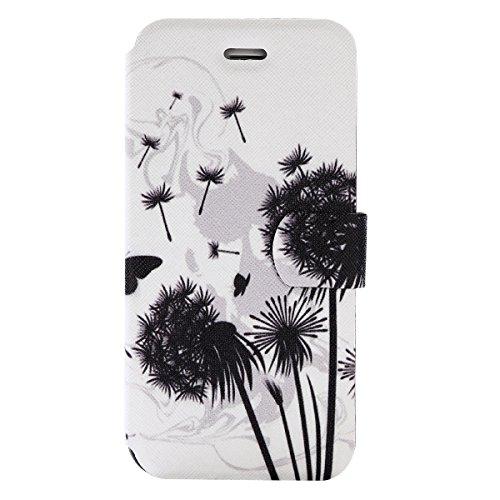 iPhone 7 Plus Coque, Voguecase Étui en cuir synthétique chic avec fonction support pratique pour Apple iPhone 7 Plus 5.5 (bloc de couleur 05)de Gratuit stylet l'écran aléatoire universelle pissenlit noir 04