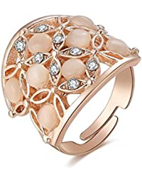 Jewels Galaxy Luxuria Limited Edition AD Flowerets Design 18K Rose Gold Plated Adjustable Ring For Women/Girls