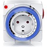 Mechanische Zeitschaltuhr - 24 Stunden Anaolg Timer - Steckdosen-Schaltuhr - Zeitprogrammstecker mit 96 Schaltsegmenten - Schieberegler für Zeitangabe - 3680W - mit Kinderschutzsicherung - Weiß