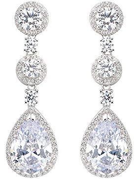 EVER FAITH® Damen 925 Sterling Silber Cubic Zirkon Prong Träne Braut Hochzeit Dangle Ohrringe Klar