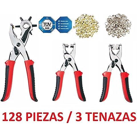 SET 128 PIEZAS SACABOCADOS 3 TENAZAS PARA OJALES REMACHES BOTONES AUTOMATICOS ROPA CALZADO CINTURON TEXTIL
