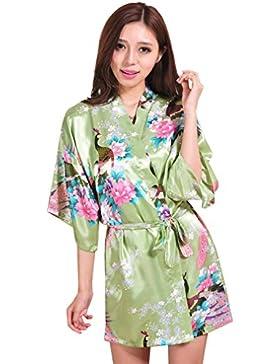 ce15df9cd8 BOYANN Raso Pavone Vestaglie e Kimono Pigiami e Camicie da Notte  Allattamento Donna Accappatoi