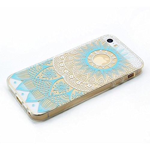 iphone 5s traumfänger hülle, LuckyW TPU Handyhülle für Apple iPhone 5 5S SE Soft Silikon Tasche Transparent Schale Clear Klar Hanytasche Durchsichtig Rückschale Ultra Slim Thin Dünne Schutzhülle Weich Blau indische Sonne