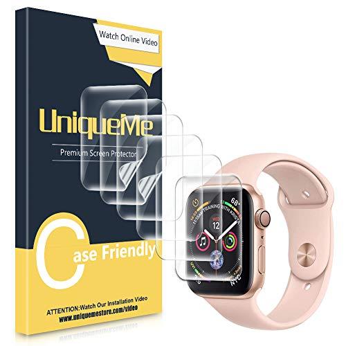 UniqueMe [6Stück] schutzfoliefürAppleWatch Series 5/4 44mmFolie,Apple Watch 42mm Serie 3 [FlexibleFolie]SoftHDTPUKlarDisplayschutzDisplayschutzfoliemitlebenslangerErsatzgarantie