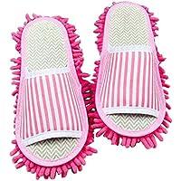 Kreative waschbare Mop Hausschuhe Boden Reinigung Hausschuhe rosa Streifen