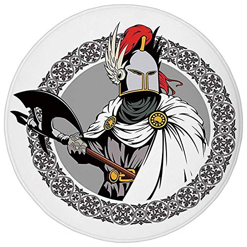 Round Rug Mat Carpet,Medieval Decor,Illustration of the Medieval Knight with Traditional Costume and Ancient Mask Heroic Past,Multi,Flannel Microfiber Non-slip Soft Absorbent,for Kitchen Floor Bathroo