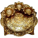 Tuski 3 in One Diya Thali Pure Brass Hindu Pooja Article,Diyas, Deepak Oil Lamp Engraved 3 in 1