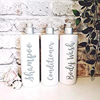 Set Of 3 - White And Grey Refillable Reusable Personalised Pump Dispenser Bottles For Shampoo, Conditioner, Body Wash. Mrs Hinch Inspired.
